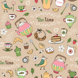 Afternoon tea seamless background pattern Stock Images