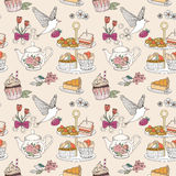 Afternoon tea seamless pattern Stock Image