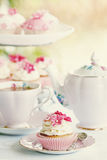 Afternoon tea. Served with cupcakes Royalty Free Stock Images