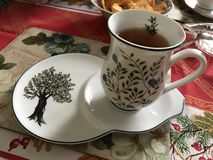 Afternoon tea. Tea set with tree design Stock Photography