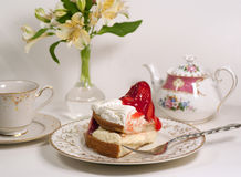 Afternoon tea with strawberyy short cake Stock Photos