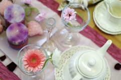 Afternoon tea table setting. Table setting with items for an afternoon tea Stock Photo