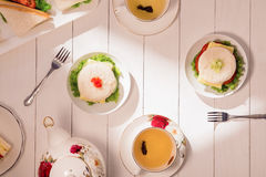 Afternoon tea table. tea set with sandwiches Royalty Free Stock Photography