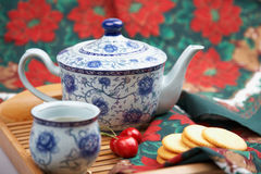 Afternoon tea time. With tea set and snacks Stock Photography