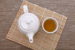 Afternoon tea time. Healthful green tea and teapot for afternoon tea time royalty free stock image
