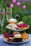 Afternoon tea. Traditional English afternoon tea with cakes and sandwiches Royalty Free Stock Images