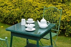 Afternoon tea. For two on a summers day in the garden Royalty Free Stock Images
