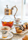 Afternoon tea, vintage/antique afternoon tea table setting Royalty Free Stock Photos