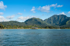 Afternoon view of  Hanalei Bay and Pier on Kauai Hawaii Royalty Free Stock Photo