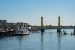 Afternoon view of Sacramento skyline with Sacramento River. Sacramento, FEB 21: Afternoon view of Sacramento skyline with Sacramento River on FEB 21, 2018 at royalty free stock images