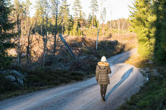 Afternoon walk in the forest. Relaxing afternoon walk on a gravel road in the forest Royalty Free Stock Photos