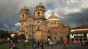 Afternoon wide angle view of the church of the society of Jesus in Cusco stock video footage