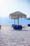 Afternoonon on sandy beach (Greece / Thassos) Royalty Free Stock Photography