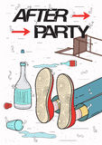 Afterparty placard. Drunk, tired guy asleep, resting of drinking. Funny party poster. Colorful Illustration. Royalty Free Stock Photos