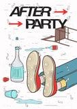 Afterparty plakat Opiły, zmęczony facet uśpiony, odpoczywać pić Śmieszny partyjny plakat ilustracja kolorowa royalty ilustracja