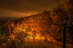 Aftersnow in a Village. Night Landscape from Balcony. Took after of a long day of snowing Royalty Free Stock Image