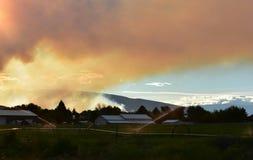 Afton av Juli 1st 2018, Conrad brand, östliga Washington State fotografering för bildbyråer