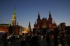 Afton av Victory Day i Moskva i röda Squere Royaltyfria Bilder