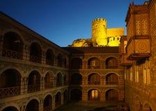Afton för Akhaltsikhe Rabati slotttorn arkivbilder