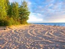 Afton för Lake Superior strandsommar Arkivfoton