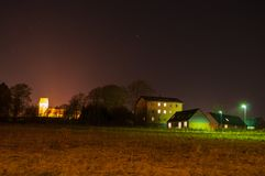 Afton i by av Norre Tranders i Aalborg Danmark Arkivbilder