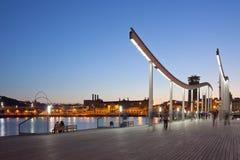Afton i Barcelona Arkivbilder