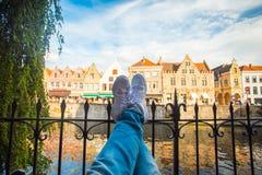 Afton i Brugge fotografering för bildbyråer