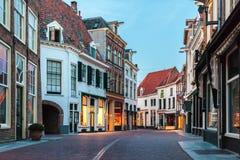 Afton i den holländska historiska staden Zutphen fotografering för bildbyråer