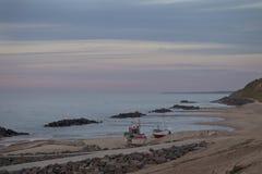 Afton i den Lonstrup stranden Arkivfoto