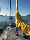 Afton i en marina i en kroatisk by Royaltyfria Foton