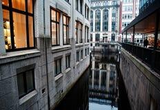 Afton i Hamburg Arkivbild