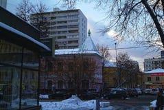 Afton i mitten av Moskva Arkivbilder