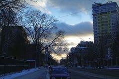 Afton i mitten av Moskva Arkivfoto