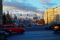 Afton i mitten av Moskva Royaltyfri Fotografi