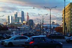 Afton i mitten av Moskva Royaltyfri Foto