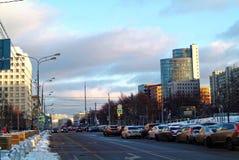 Afton i mitten av Moskva Arkivfoton