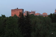 Afton i Moskva, år 2014 Arkivbilder