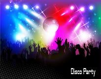 Afton i nattklubb folk mot färgbelysning vektor illustrationer