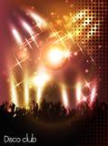 Afton i nattklubb folk mot färgbelysning stock illustrationer