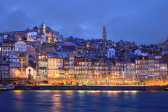 Afton i Porto, Portugal Arkivfoton