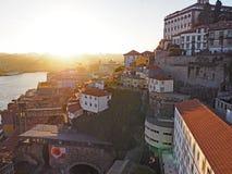 Afton i Porto, Portugal Royaltyfria Foton