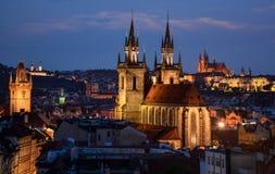 Afton i Prague Arkivfoto