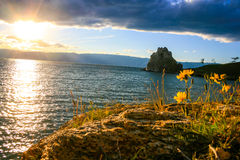 Afton i Sandy Bay, Baikal Arkivfoto