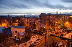 Afton i staden av Craiova Arkivbilder