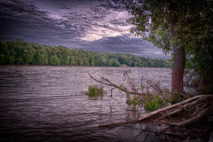 Afton längs den Maumee floden Arkivbild
