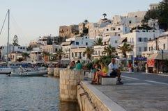 Afton längs Naxosen, Grekland strand Arkivfoton