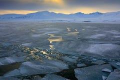 Afton med havsis, vitt snöig berg, blå glaciär Svalbard, Norge Is i havet Isbergskymning i nordpolen Rosa clou Fotografering för Bildbyråer
