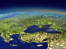 Afton ovanför den Turkiet och Black Sea regionen från utrymme stock illustrationer