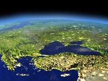 Afton ovanför den Turkiet och Black Sea regionen från utrymme royaltyfri illustrationer