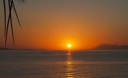 Afton på den Aegean kusten Arkivbilder